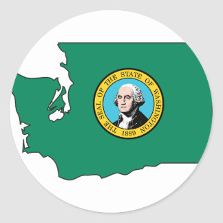 Washington Flag Map Classic Round Sticker