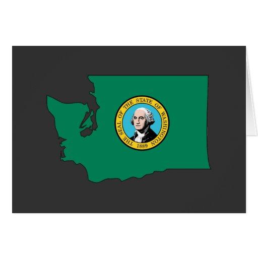 Washington Flag Map Greeting Cards