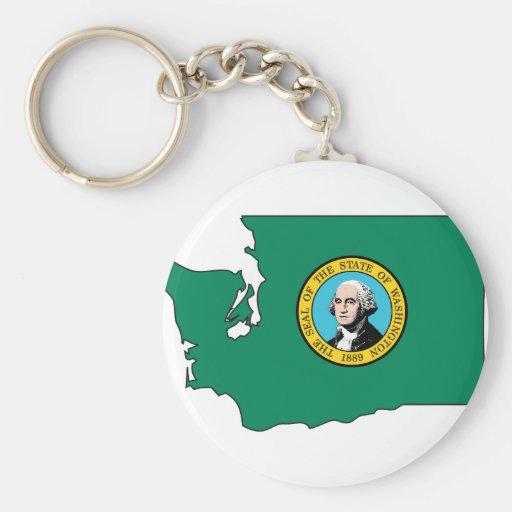 Washington Flag Map Keychains