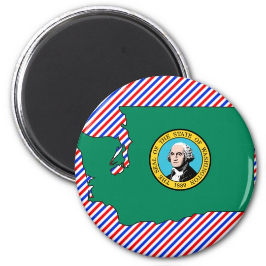 Washington Flag Map Magnet