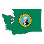 Washington Flag Map Postcard