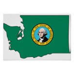 Washington Flag Map Poster