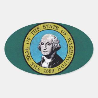 Washington Flag Oval Sticker