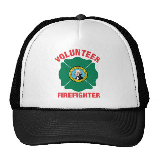 Washington Flag Volunteer Firefighter Cross Trucker Hat