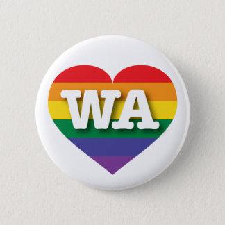 Washington Gay Pride Rainbow Heart - Big Love Pinback Button