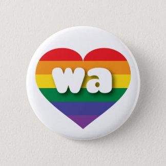 Washington gay pride rainbow heart - mini love pinback button