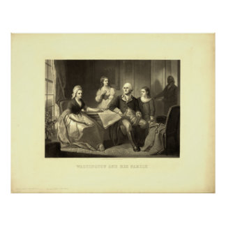 Washington & his Family Mezzotint by C. Schussele Posters