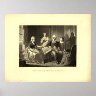 Washington & his Family Mezzotint by C. Schussele Print