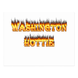 washington hottie fire and flames postcard
