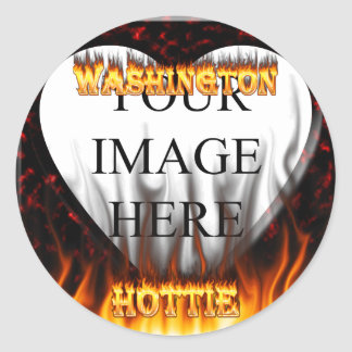 Washington Hottie fire and red marble heart. Sticker