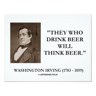 Washington Irving Drink Beer Think Beer Quote Card