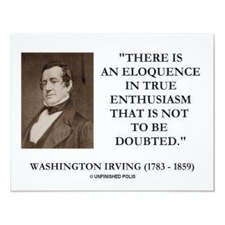 Washington Irving Eloquence In True Enthusiasm Personalized Announcement