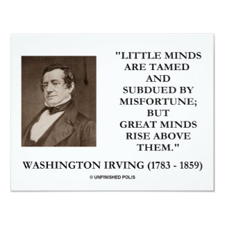 Washington Irving Little Minds Great Minds Quote Card