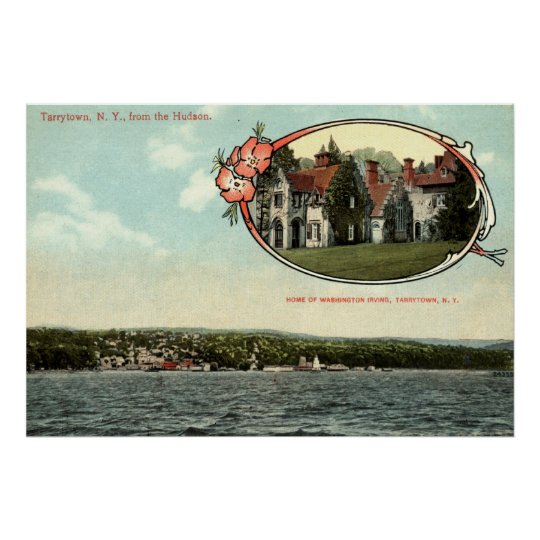 Washington Irving, Tarrytown, NY Vintage c1915 Poster