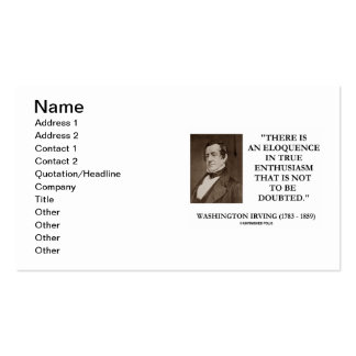 Washington Irving True Enthusiasm Not Be Doubted Double-Sided Standard Business Cards (Pack Of 100)