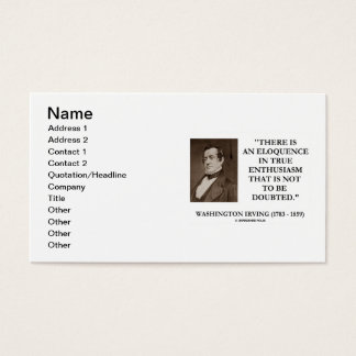 Washington Irving True Enthusiasm Not Be Doubted Business Card