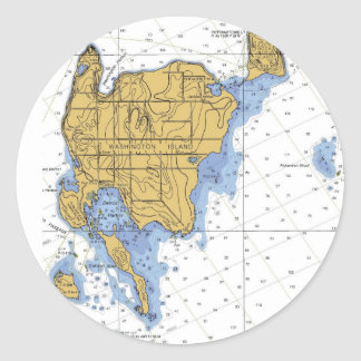 Washington Island, WI Nautical Chart Classic Round Sticker