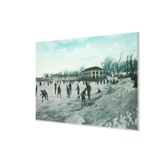 Washington Lake Park Ice Skating Scene Stretched Canvas Prints