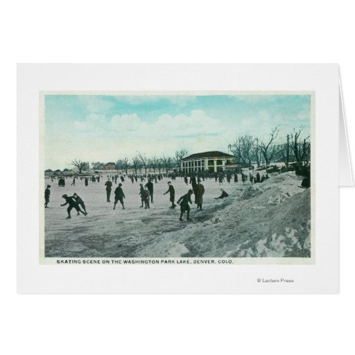 Washington Lake Park Ice Skating Scene Greeting Card