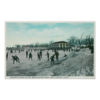 Washington Lake Park Ice Skating Scene Poster