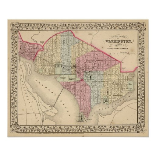 Washington Map by Mitchell Poster