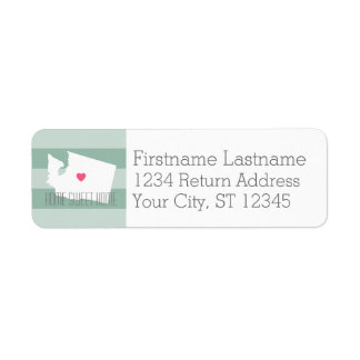 Washington Map Home State Love with Custom Heart Label