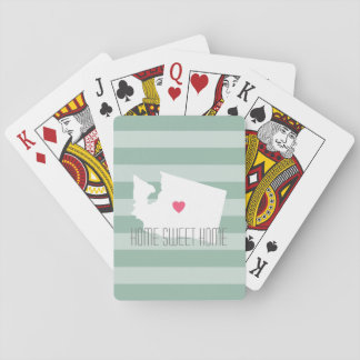 Washington Map Home State Love with Custom Heart Playing Cards