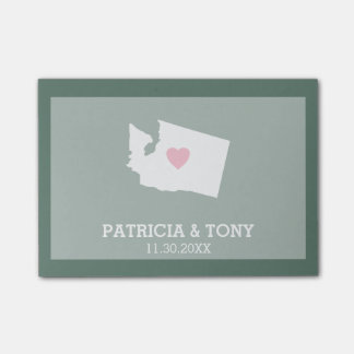 Washington Map Home State Love with Custom Heart Post-it® Notes