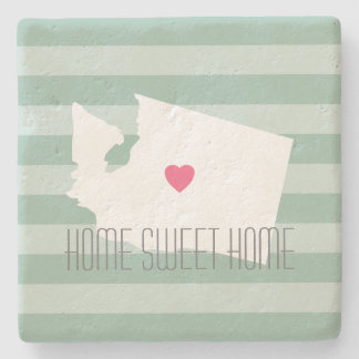 Washington Map Home State Love with Custom Heart Stone Coaster