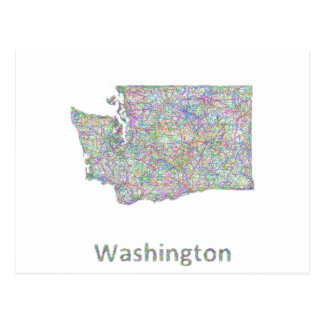 Washington map postcard