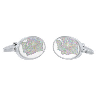 Washington map silver cufflinks