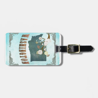Washington Map With Lovely Birds Tag For Luggage