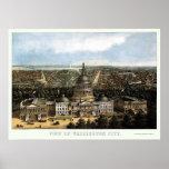 Washington, mapa panorámico de DC - 1871 Impresiones