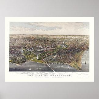 Washington, mapa panorámico de DC - 1880 Póster