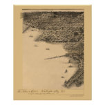 Washington, mapa panorámico de DC - 1883 Poster
