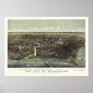 Washington, mapa panorámico de DC - 1892 Impresiones