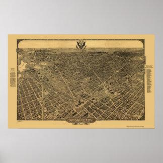 Washington, mapa panorámico de DC - 1922 Póster