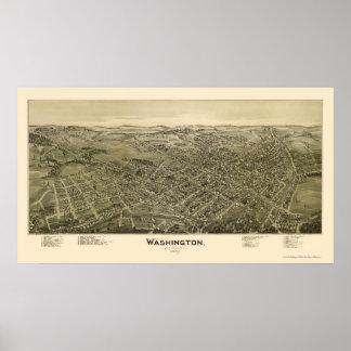 Washington, mapa panorámico del PA - 1897 Póster