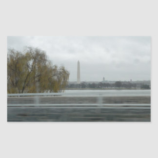 Washington Monument Across The River Rectangular Sticker
