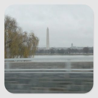 Washington Monument Across The River Square Stickers