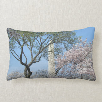 Washington Monument and Cherry Blossoms Pillow