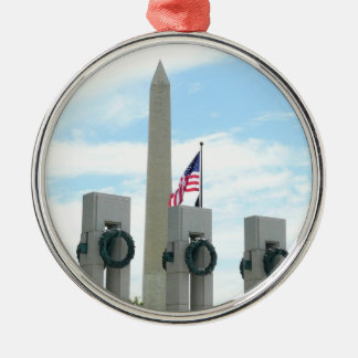 Washington Monument and WWII Memorial in DC Metal Ornament
