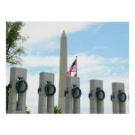 Washington Monument and WWII Memorial in DC Poster