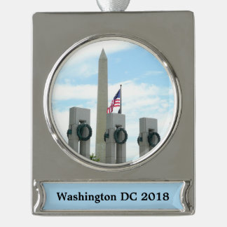 Washington Monument and WWII Memorial in DC Silver Plated Banner Ornament