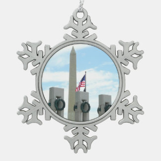 Washington Monument and WWII Memorial in DC Snowflake Pewter Christmas Ornament