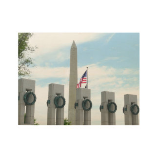 Washington Monument and WWII Memorial in DC Wood Poster