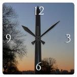 Washington Monument at Sunset Square Wall Clock