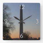 Washington Monument at Sunset Travel Photography Square Wall Clock