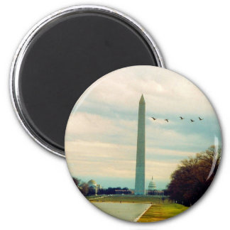 washington monument birds 2 inch round magnet