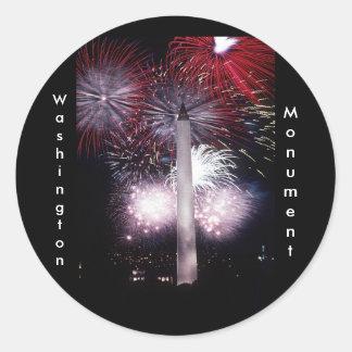 Washington Monument Fireworks Classic Round Sticker
